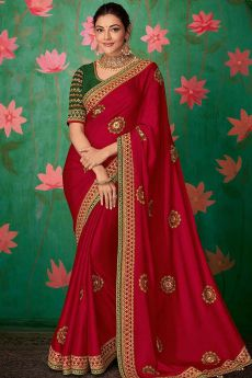Crimson Red Party Wear Silk Saree with Embroidery