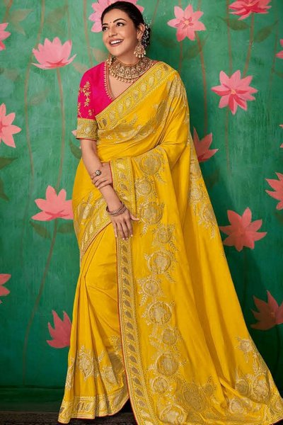 Yellow Party Wear Silk Saree with Embroidery