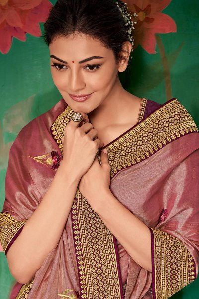 Onion Pink Party Wear Silk Saree with Embroidery