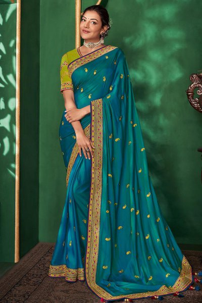 Blue Party Wear Silk Saree with Embroidery