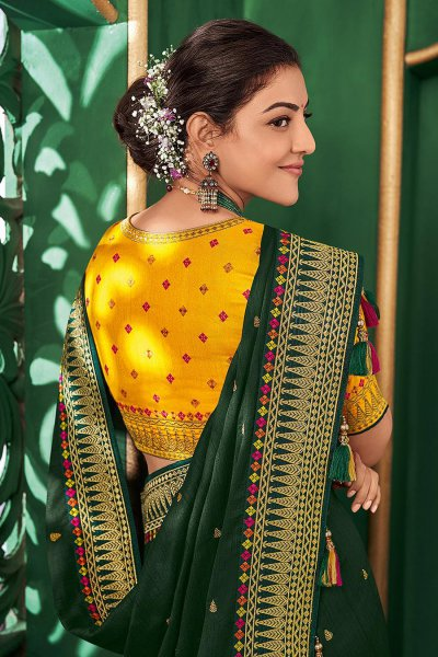 Green Party Wear Silk Saree with Yellow Blouse