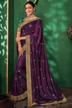 Purple Party Wear Silk Saree with Embroidery