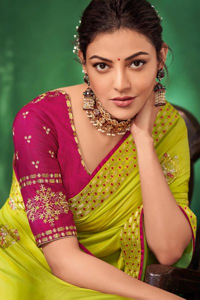 Lime Green Party Wear Silk Saree with Embroidery