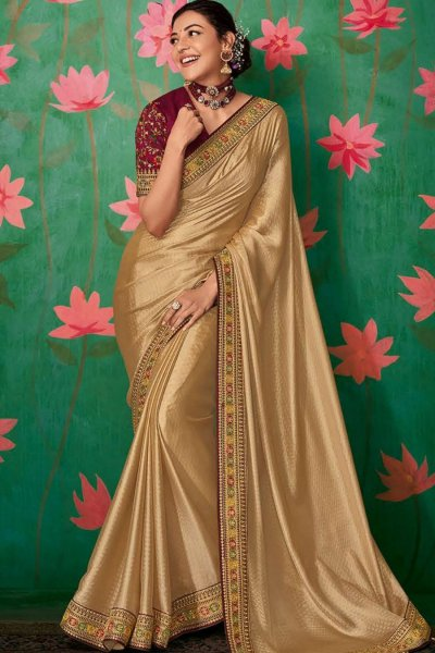 Golden Party Wear Silk Saree with Embroidered Blouse