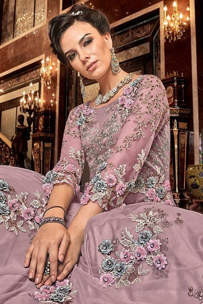 Lilac Net Anarkali Suit with Satin Floral Work
