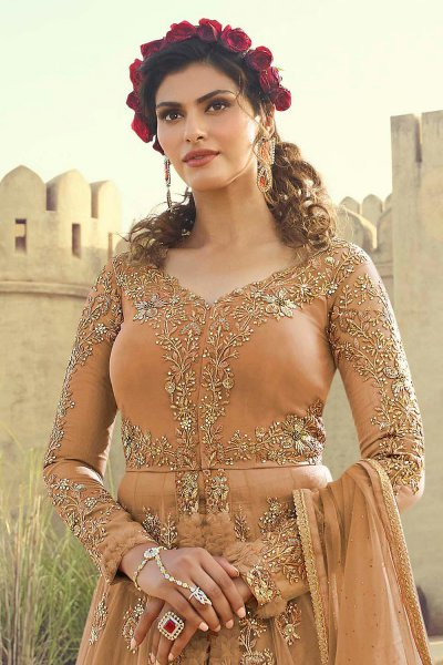 Embroidered Pale Amber Anarkali Lehenga Suit in Net