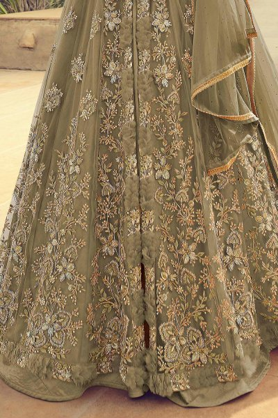 Embroidered Taupe Anarkali Lehenga Suit in Net