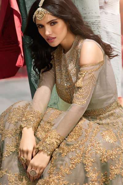 Taupe Zari Embroidered Anarkali Suit in Net