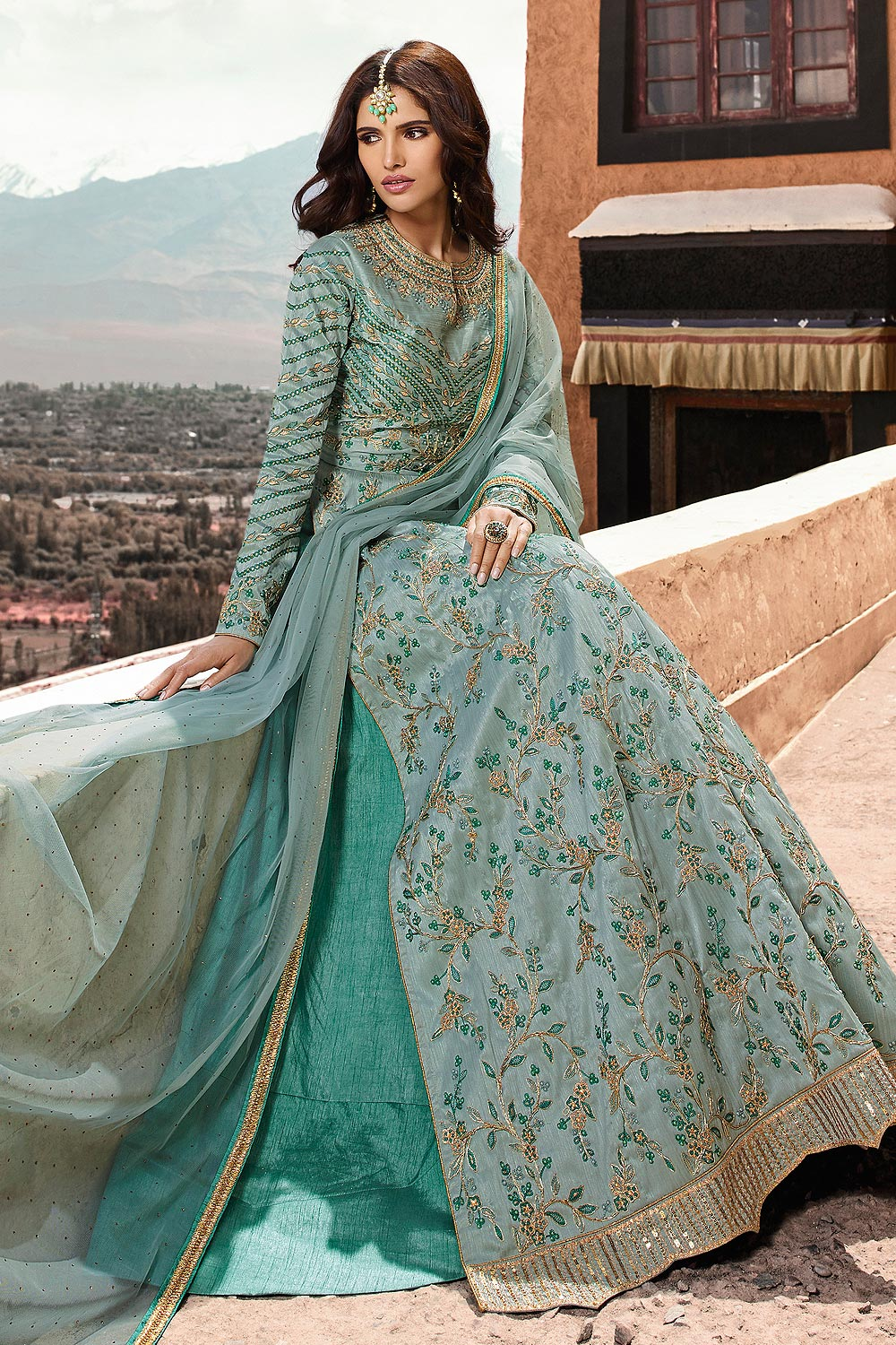 Blue Embroidered Anarkali Suit with Lehenga in Silk