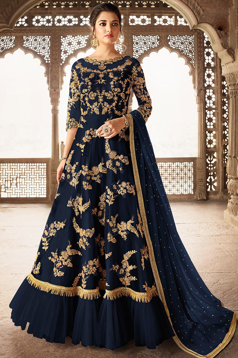 Navy Blue Net Fully Embroidered Anarkali Suit