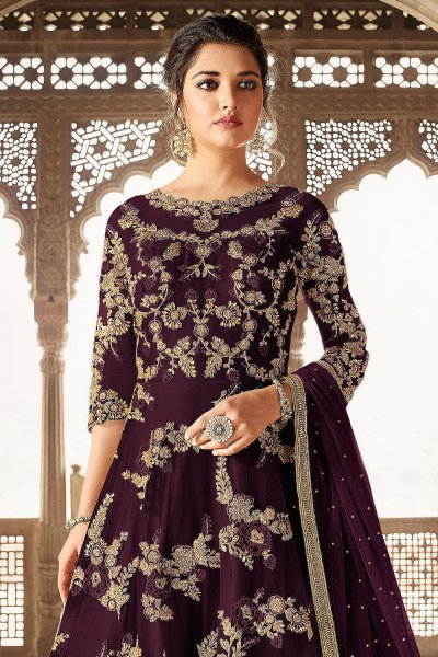 Plum Net Fully Embroidered Anarkali Suit