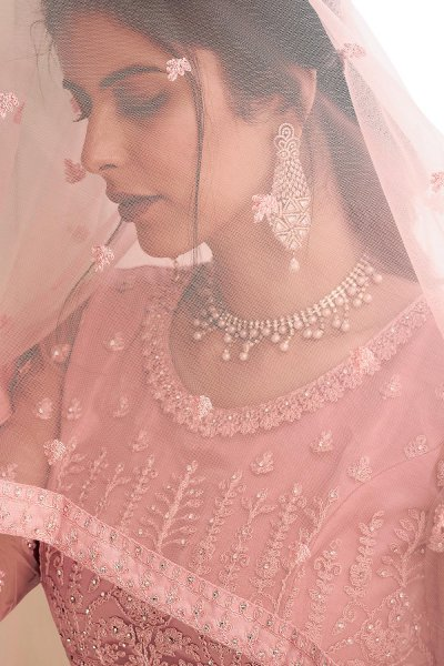 Dusky Pink Party Wear Embroidered Anarkali Suit