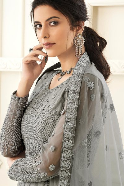 Grey Party Wear Embroidered Anarkali Suit
