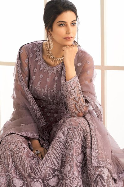 Mauve Party Wear Embroidered Anarkali Suit