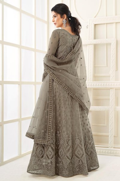 Charcoal Grey Party Wear Embroidered Anarkali Suit