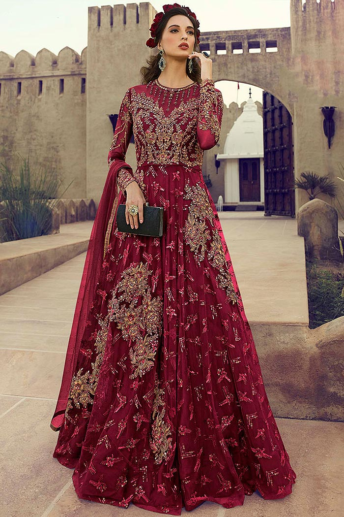 Embellished Cherry Red Anarkali Suit in Net