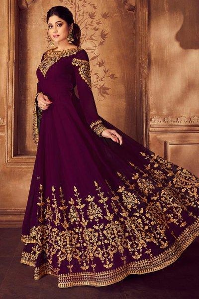 Wine Zari Embroidered Georgette Anarkali Suit