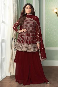 Peplum Style Embroidered Palazzo Suit in Georgette