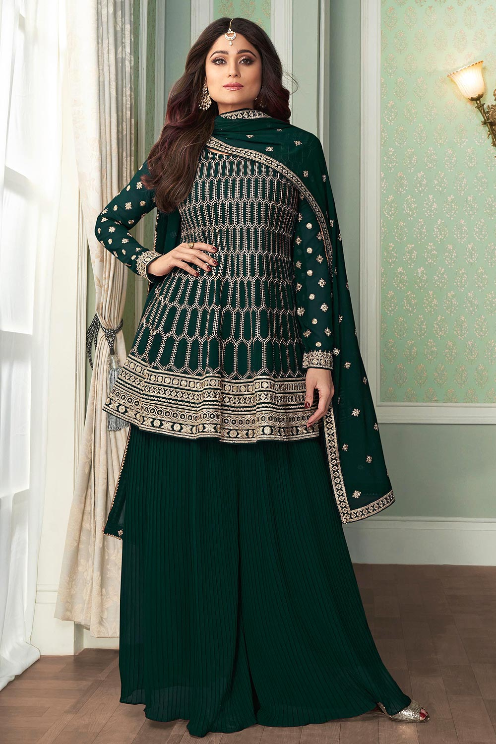 Peplon Style Embroidered Palazzo Suit in Georgette