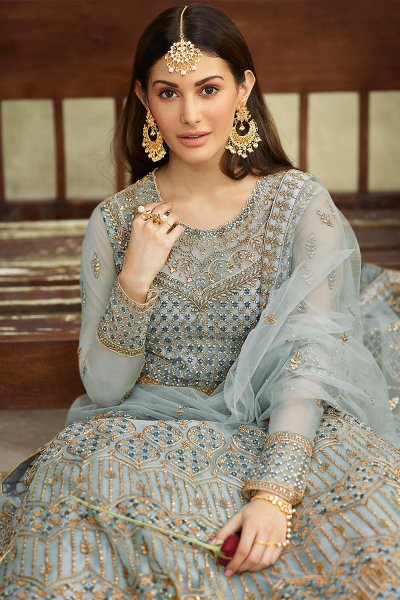 Powder Blue Zari Embroidered Anarkali Suit