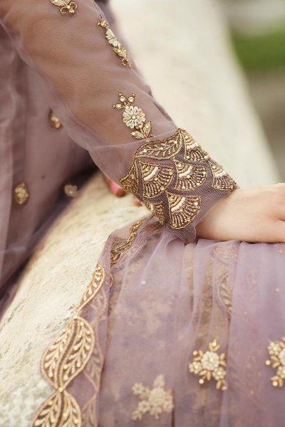 Dusty Mauve Zari Embroidered Anarkali Suit