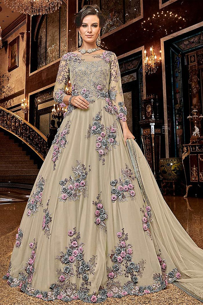 Beige Net Anarkali Suit with Satin Floral Work