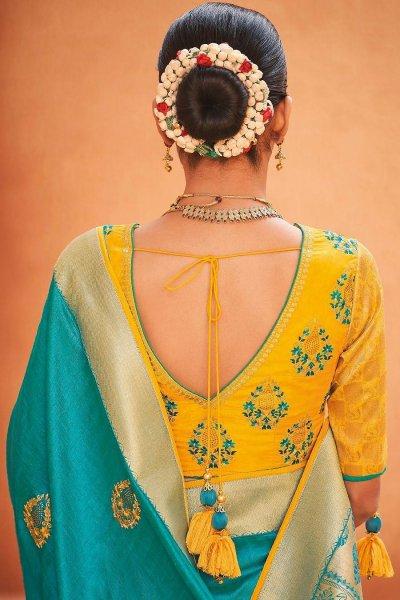 Blue Party Wear Woven Silk Saree
