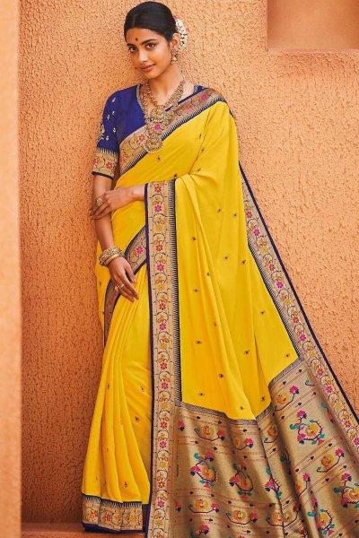Yellow Party Wear Woven Silk Saree