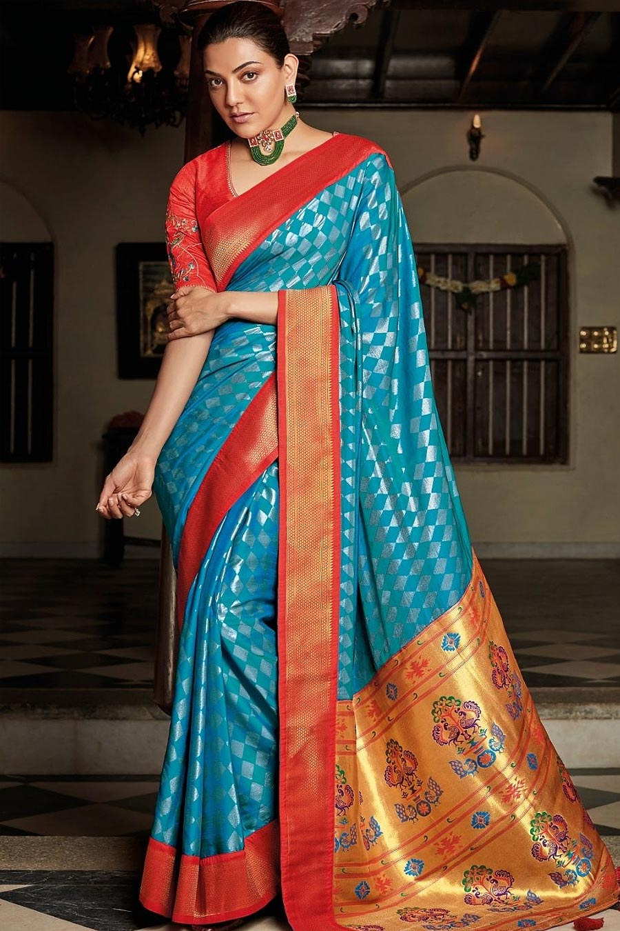 Blue Party Wear Woven Silk Saree with Peacock Motifs on Pallu