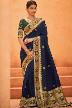 Navy Blue Party Wear Woven Silk Saree