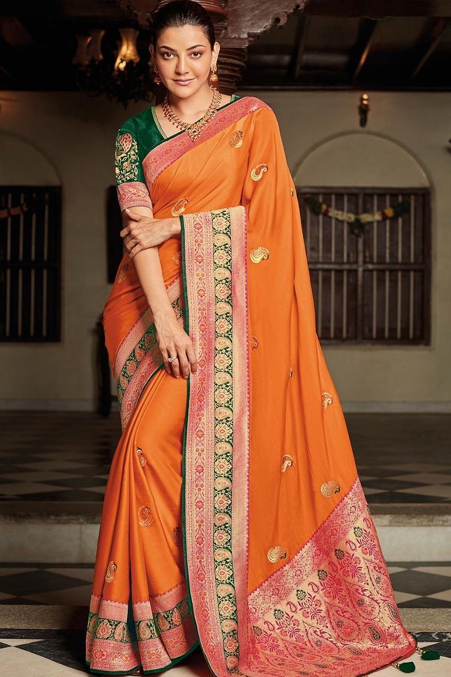 Orange Party Wear Woven Silk Saree