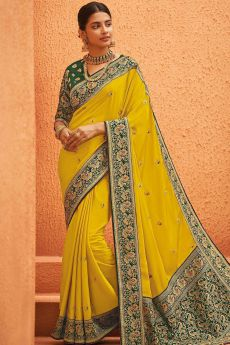 Yellow Party Wear Woven Silk Saree with Peacock Motifs