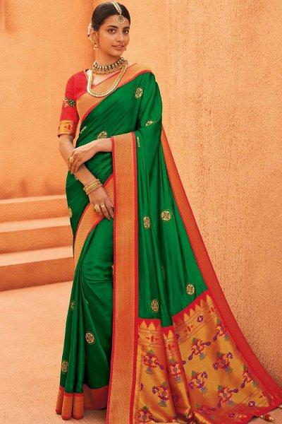 Green Party Wear Woven Silk Saree