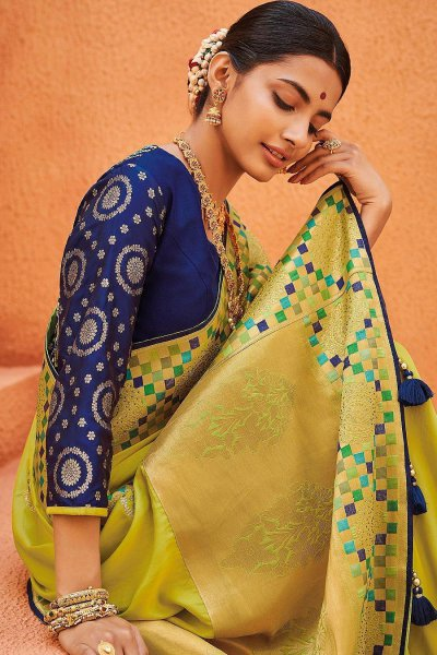 Lime Green Party Wear Woven Silk Saree