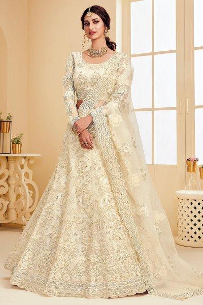 Pearl White Net Lehenga Choli with Embroidery