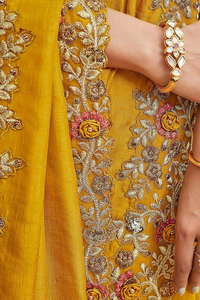 Gold Yellow Embroidered Silk Saree