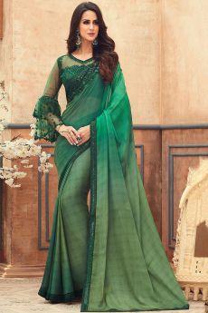 Green Embellished Chiffon Saree