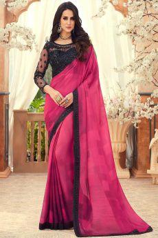 Crimson Hot Pink Embroidered Chiffon Saree