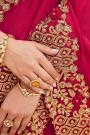 Crimson Hot Pink Silk Saree