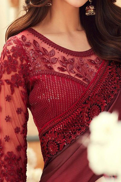 Ravishing Red Embroidered Chiffon Saree