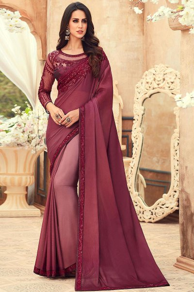 Stunning Plum Ombré Chiffon Saree with Embroidery