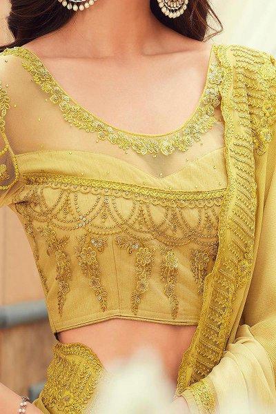 Pale Yellow Embroidered Chiffon Saree