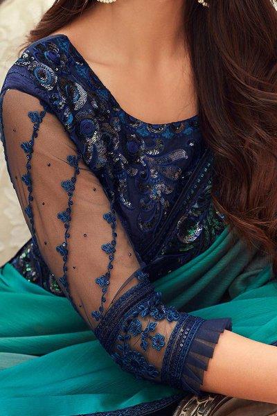 Shaded Green Embroidered Chiffon Saree