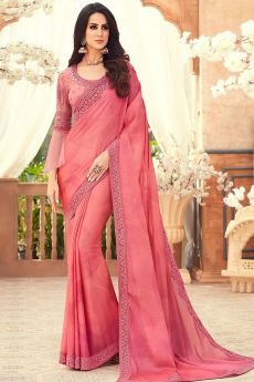 Coral Pink Chiffon Saree with Embroidery