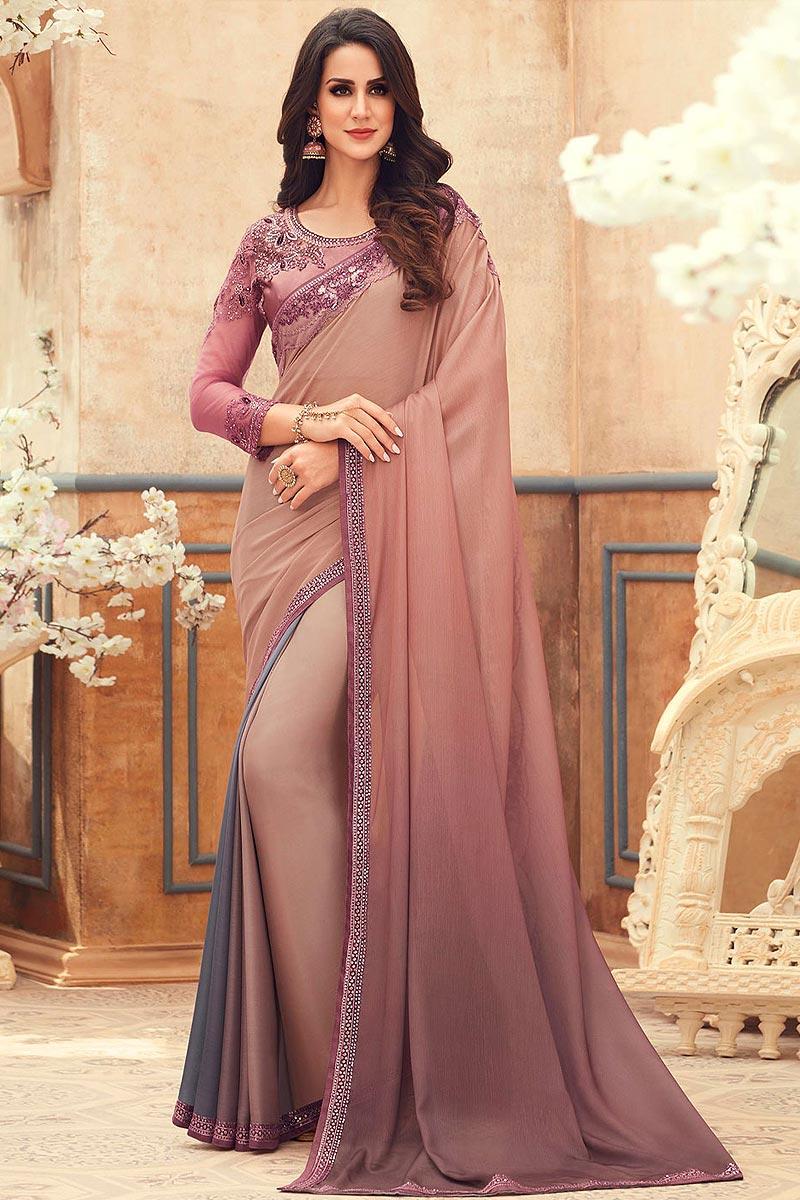 Dusky Pink & Grey Chiffon Embroidered Saree