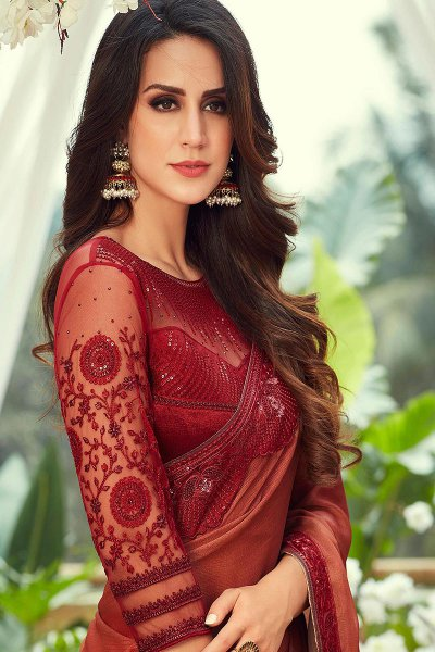 Berry Red and Orange Embroidered Chiffon Saree with Sequins work
