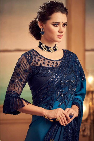 Blue Ombre Embroidered Silk Saree with Sequins work