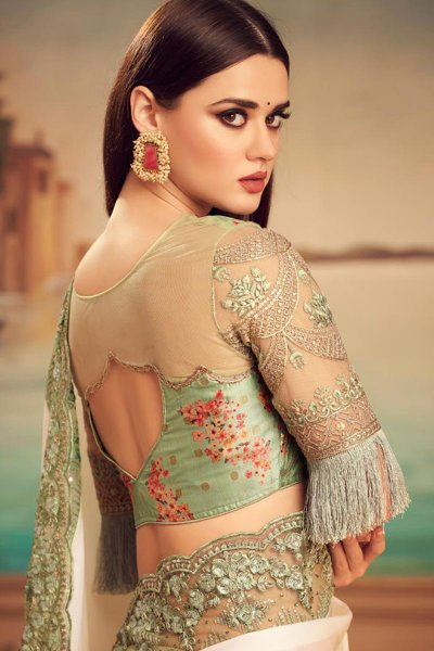 Pearl White Embroidered Silk Saree with Sequins work