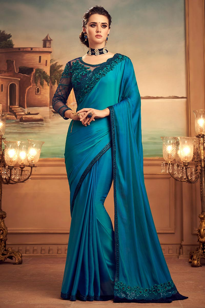 Blue Embroidered Silk Saree with Sequins work