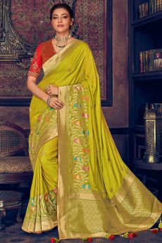 Lime Green Woven Silk Saree with Zari
